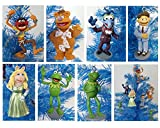 The Muppets Set of 7 Holiday Christmas Tree Ornaments Featuring Kermit the Frog, Miss Piggy, Fozzie, Gonzo, Animal and Walter - 3'' to 4'' Shatterproof Plastic Ornaments