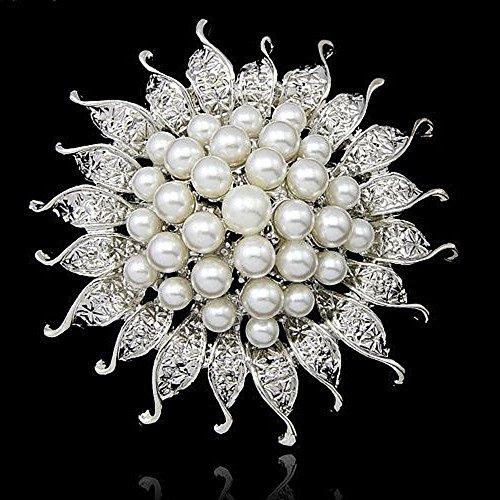 Wcysin 3D Sunflower Brooch Pins for Women Bouquet Flower Wedding Created Crystal Brooch (Silver) (Brooch Sunflower Crystal)