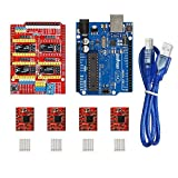 Gowoops 3D Printer kit with CNC Engraver Shield Expansion Board + UNO R3 Board + 4PCS A4988 Step Motor Driver with Heatsinks + USB Cable for Arduino