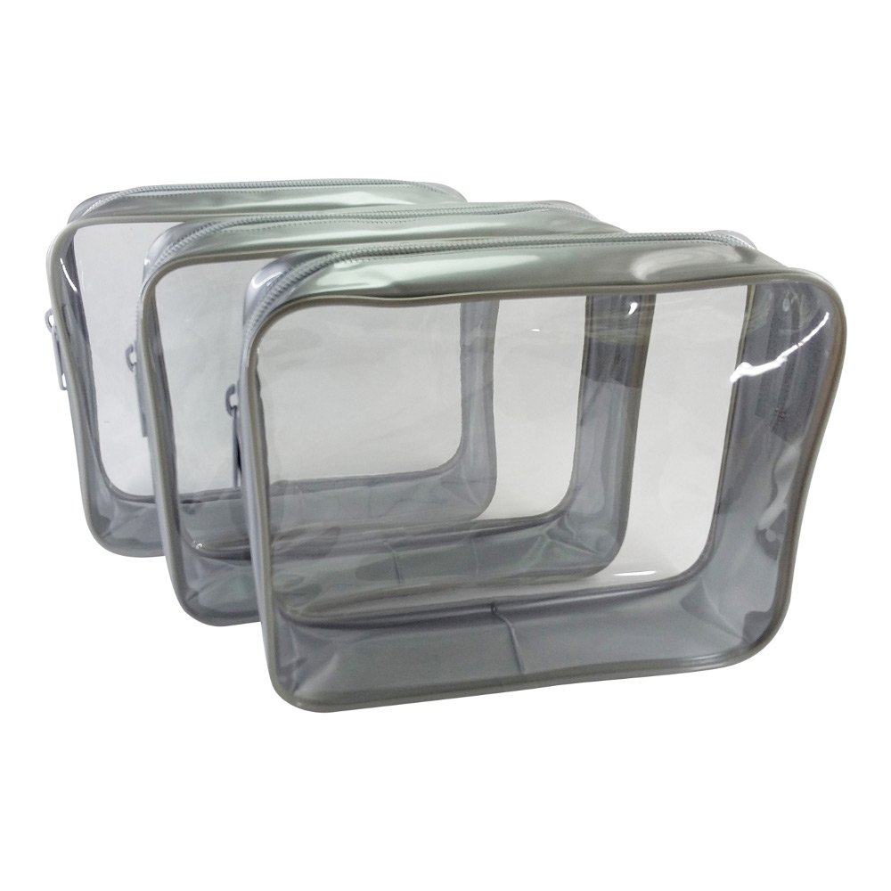 3 Pack Clear Cosmetic Bag Medium Size Travel Case Waterproof Zipper Toiletry Organizer – Silver