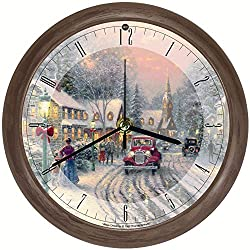 Songbird Essentials Thomas Kinkade Christmas Village Musical Wall Clock - Hourly Seasonal Songs