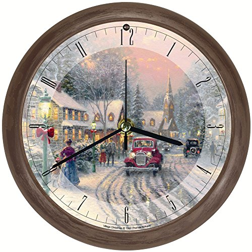 (Johnson Smith Co. (Set) Thomas Kinkade Christmas Village Musical Wall Clock + AA)
