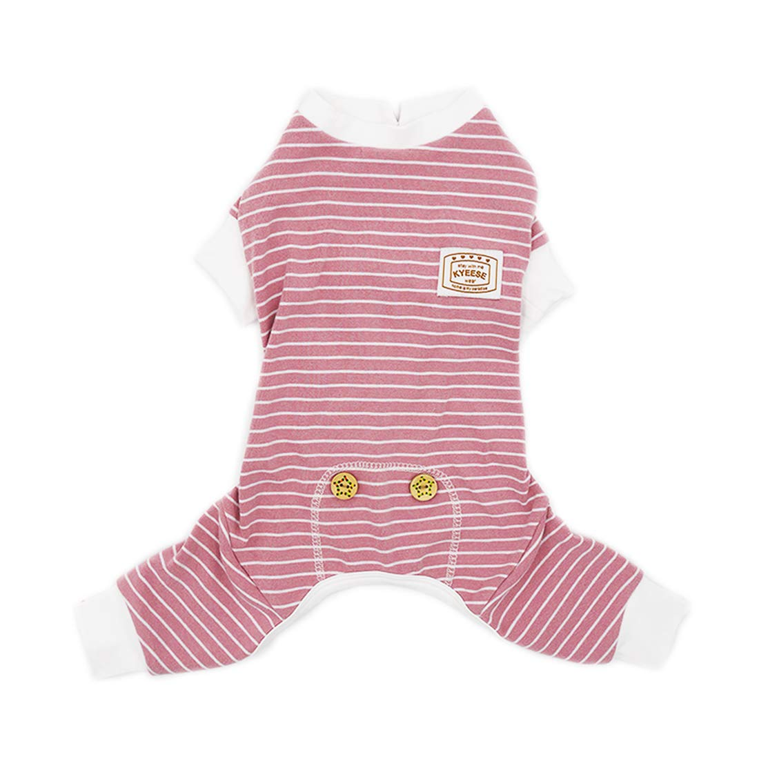 KYEESE Dog Pajamas Cotton Stretchable Dog Jumpsuit 4 Legs Strip PJS Pet Puppy Cat Pajamas Lightweight