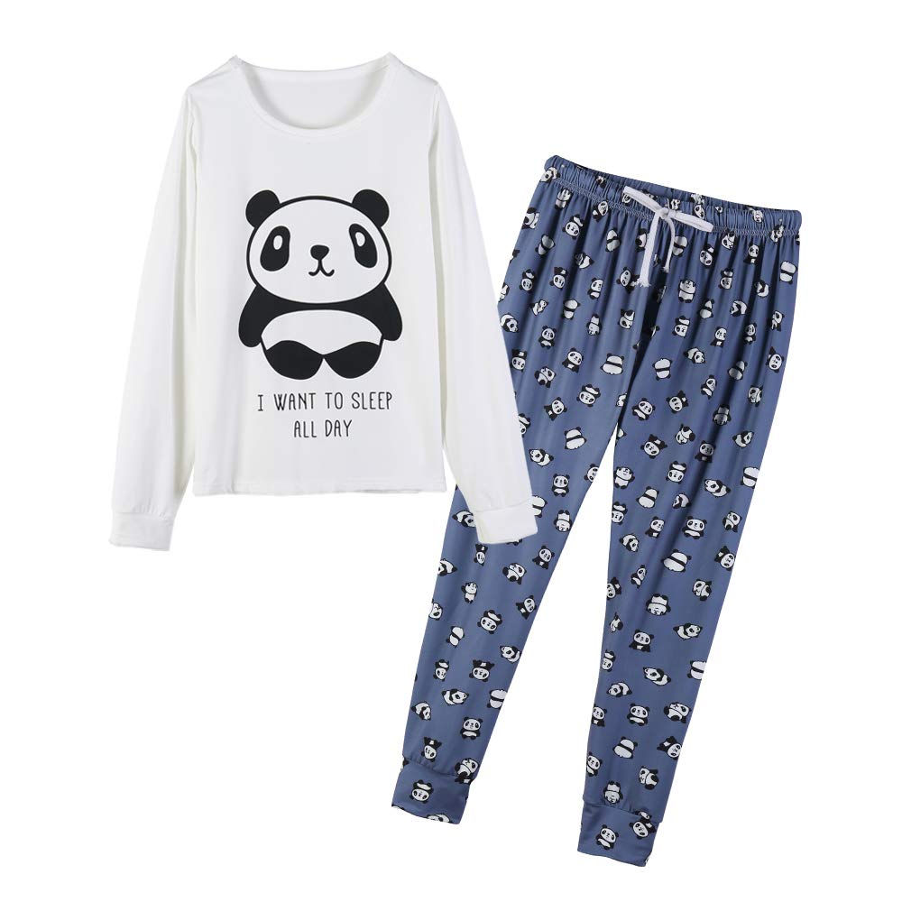 YIJIU Women's Sleepwear Long Sleeve Top and Pants Pajama Set Panda Print Nighty