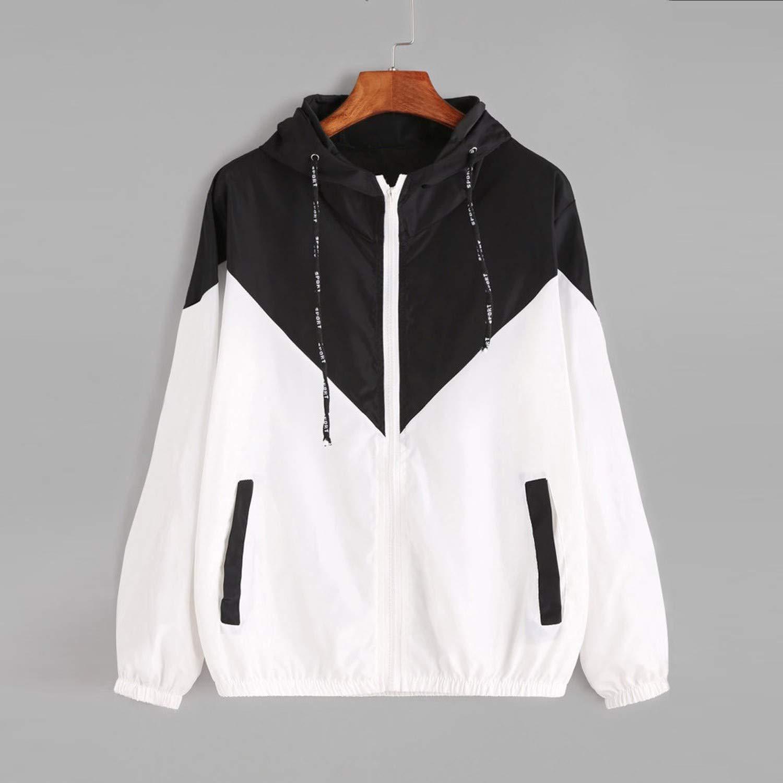 Women Basic Jackets Female Zipper Pockets Casual Long Sleeves Coats Hooded Jacket,Black,XL