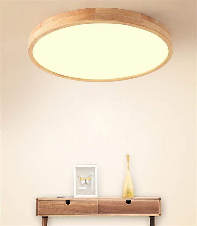 SJUN Deckenleuchte Holz Wohnzimmer Lampe Rund Flach Wohnzimmerlampe  Holzlampe Eiche Deckenlampe Schlafzimmer Vintage Leuchte Decken Licht Mit  ...