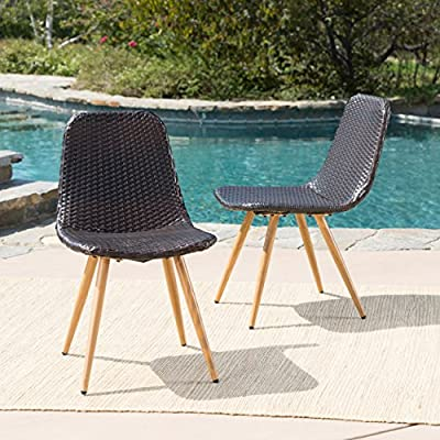 Gilda Outdoor Multi-Brown Wicker Dining Chairs with Light Brown Wood Finished Metal Legs (Set of 2) - These wicker Dining chairs are a wonderful way to add both style and seating to your patio Made with top quality wicker and with one of a kind legs, you can't go wrong with these chairs Manufactured in China - patio-furniture, patio-chairs, patio - 61C6F6vDdfL. SS400  -