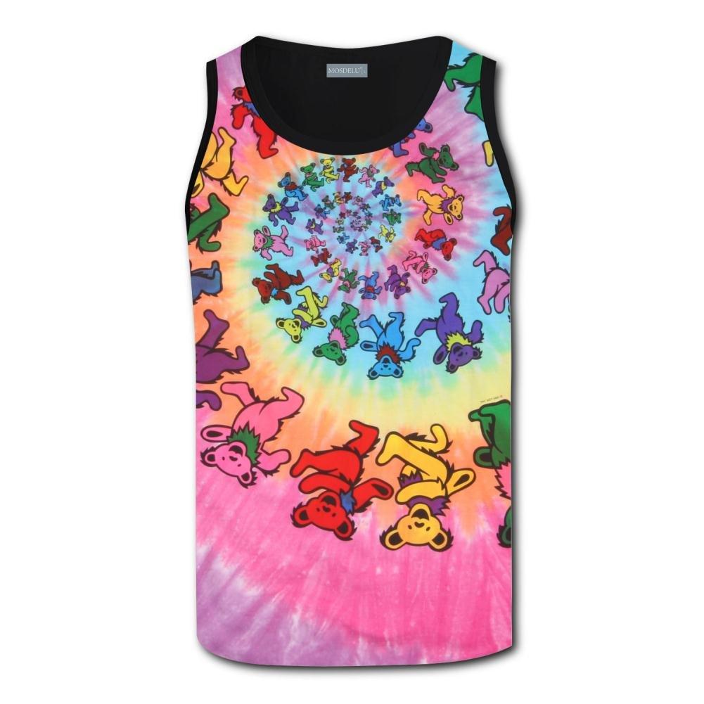 Clofun Sleeveless Crew Neck Tank Top//Tie Dye Dancing Bears Tank for Men