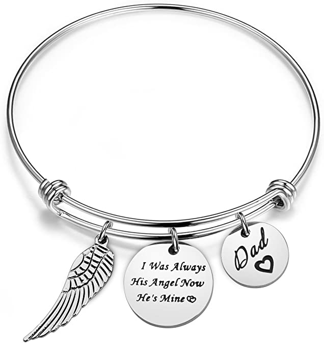 Dad Memorial Stainless Steel Charm BFS4511 I have an angel in Heaven
