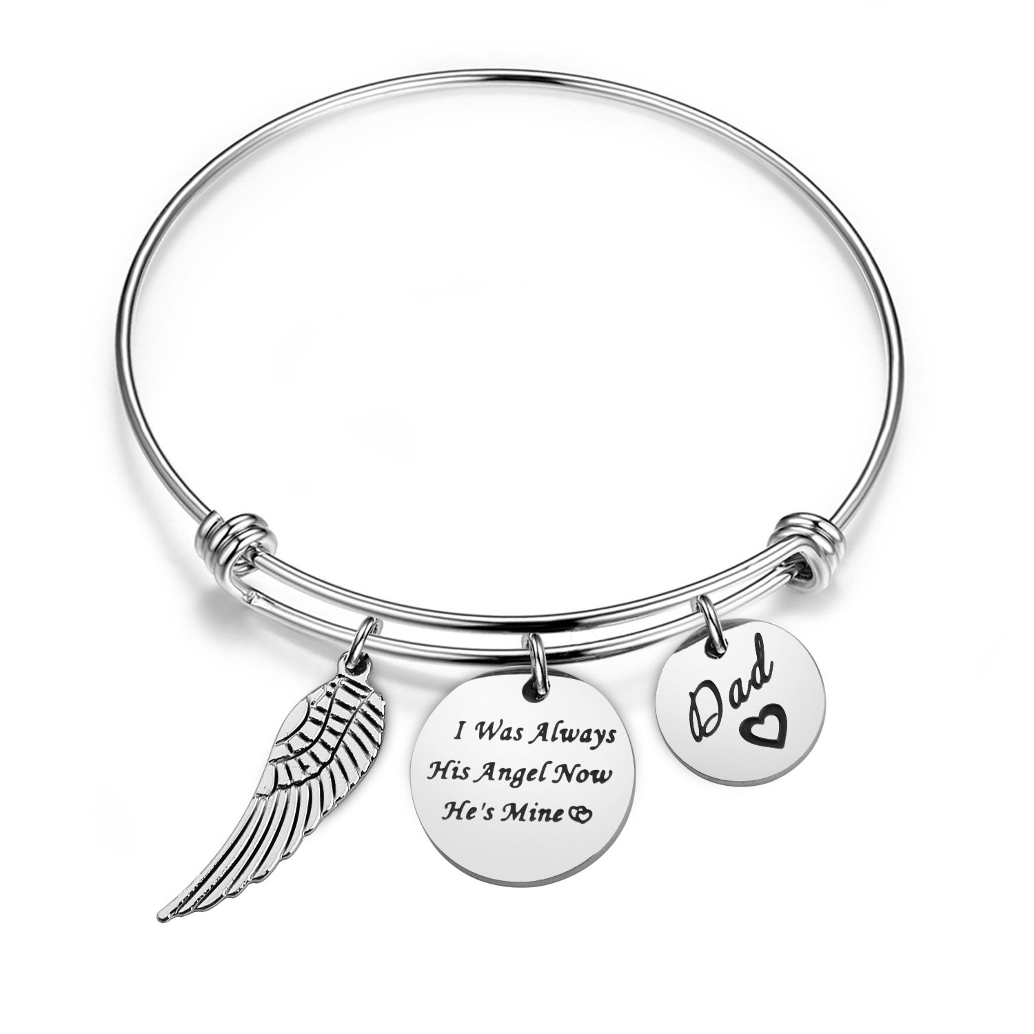 WUSUANED Memorial Bracelet I was Always His Angel Now He's Mine in Memory of Loved One Dad Sympathy Gift (in Memory of dad Bracelet) by WUSUANED