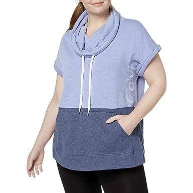 006b7bf1d2504 Calvin Klein Performance Plus Size Colorblocked Cowl-Neck Sleeveless Top  Women s  Amazon.co.uk  Clothing