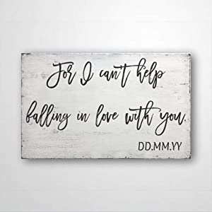 DONL9BAUER for I Can't Help Falling in Love with You,Wood Sign Rustic Home Decor Anniversary Wedding Present,Farmhouse Wall Decor Wall Hanging Indoor Outdoor