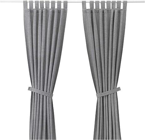 IKEA ASIA LENDA - Cortinas con alzapaños (1 par), Color Gris: Amazon.es: Hogar