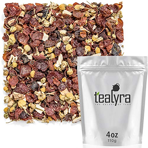 Tealyra - Herbal Trio - Chamomile Ginger Ginseng - Relaxig - Detox - Healthy - Herbal Loose Leaf Tea Blend - Caffeine Free - All Natural Ingredients - 110g (3.5-ounce)