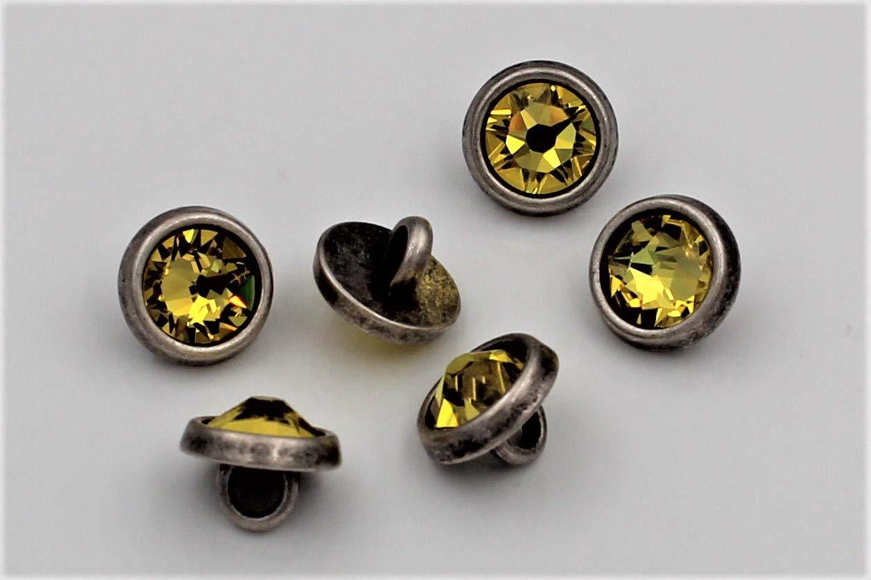 6 Unidades Hartmann-Kn/öpfe Peque/ños Botones de Metal Plateado Mate con Cristales de Swarovski aut/énticos en Amarillo 10 mm