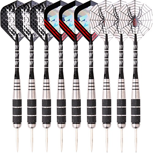 Carved Barrel (MAXMAU 3 Sets(9 pcs) of Darts Steel Tip Set 22g/pcs Stainless Barrel Bright Carved Aluminium Dart Shafts 2D Reflective Dart Flights)