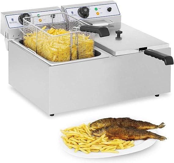 Royal Catering Freidora Electrica Profesional Doble RCEF 15D (2 x 17 L, 3.000 W, Termostato, Rango de temperatura 60-200 °C, Acero inoxidable): Amazon.es: Hogar