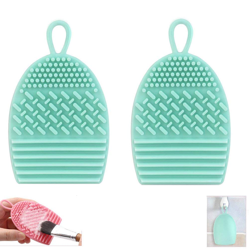 Makeup Brush Cleaner,cleaning pads, Silicone Makeup Cosmetic Brush Cleaner with Suction Cup-2 Pack(Green) JRong