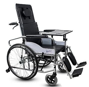 YUFI Silla de ruedas, apoyabrazos desmontable reclinable completo de la parte posterior con el asiento de la mesa de comedor silla de ruedas -: Amazon.es: ...
