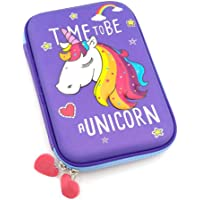 Little Swag Unicorn Embossed Pen Pencil Holder Case Box – Girl Cosmetic Makeup Stationery Organizer for Kids Girls