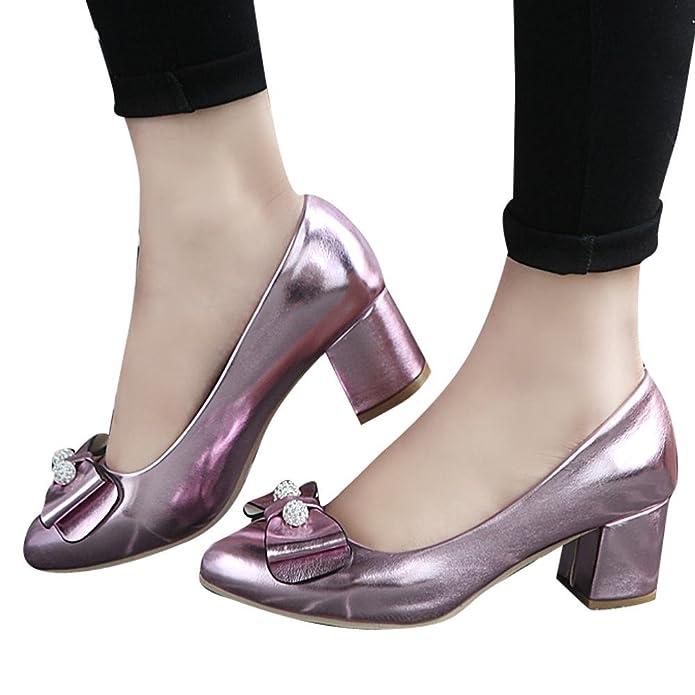 YE Damen Chunky Heels Pumps Lack High Heels Geschlossen mit Schleife und Strass Glitzer Bequem Elegant Hochzeit Schuhe ov4vT