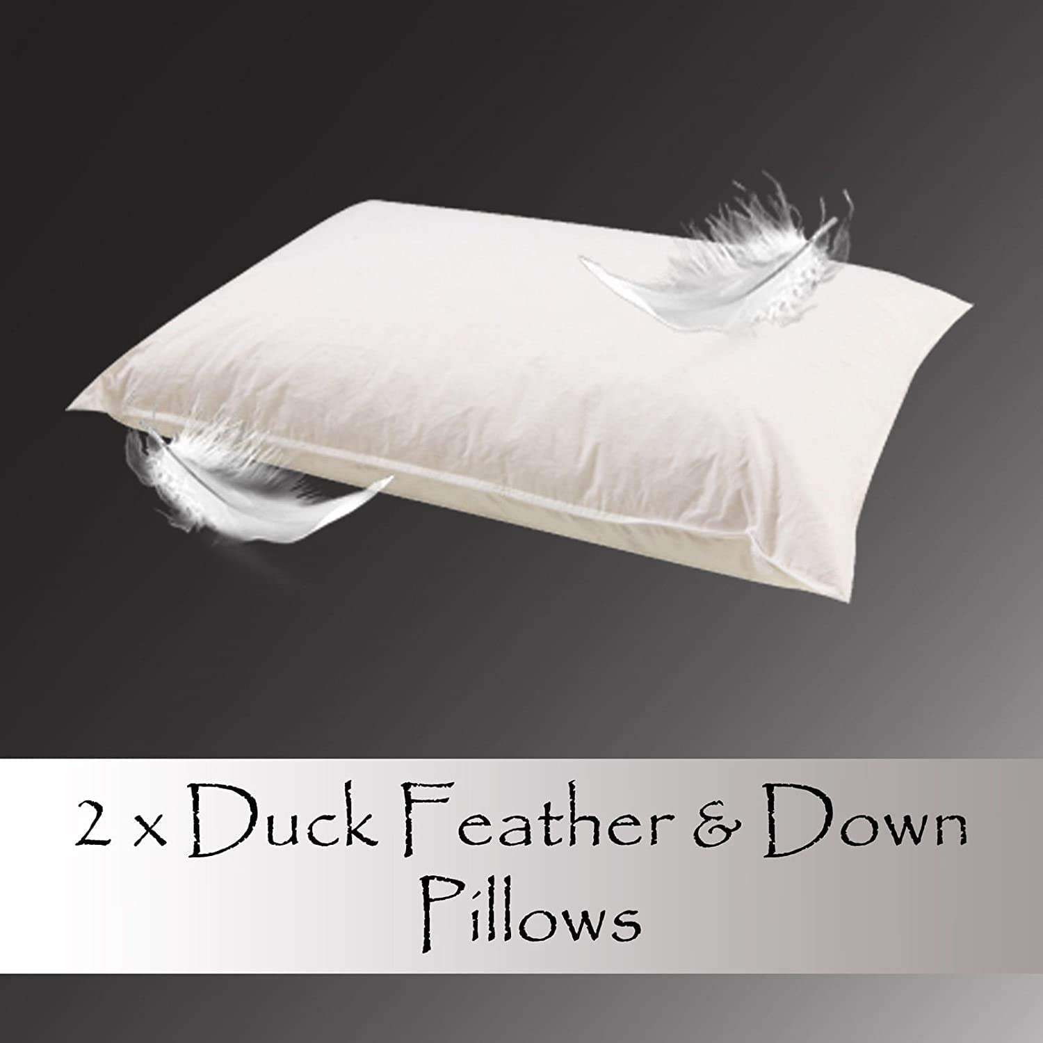 2 X LUXURY DUCK FEATHER /& DOWN HOTEL QUALITY EXTRA FILLED PILLOWS