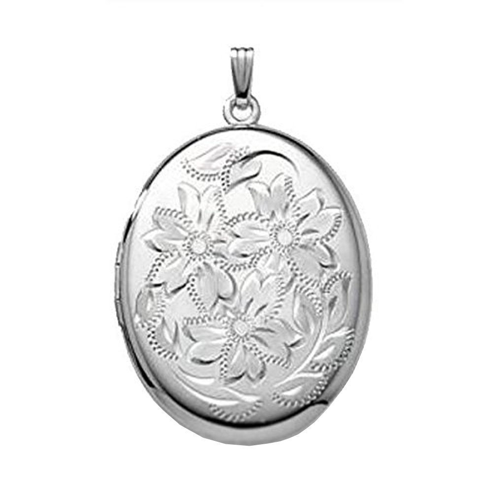 Extra LARGE Sterling Silver Oval Locket - 1-1/4 Inch X 1-1/2 Inch w / engraving
