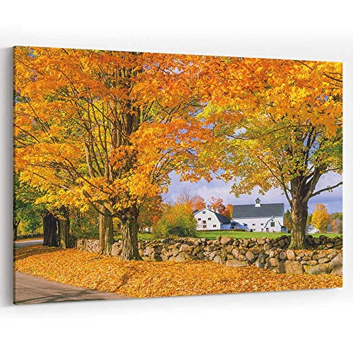 Autumn Colors with Farm in The White Mountains Canvas Art Wall Dector,NH 36
