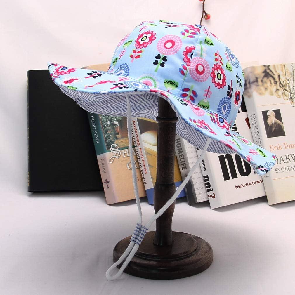 verano estampado de animales florales reversible Sombrero para ni/ño o ni/ña viaje para playa de algod/ón GeMVIE antirrayos UV plegable