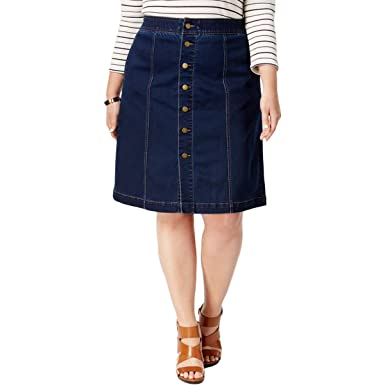 Charter Club Womens Plus Dark Wash Knee-Length Denim Skirt Blue ...