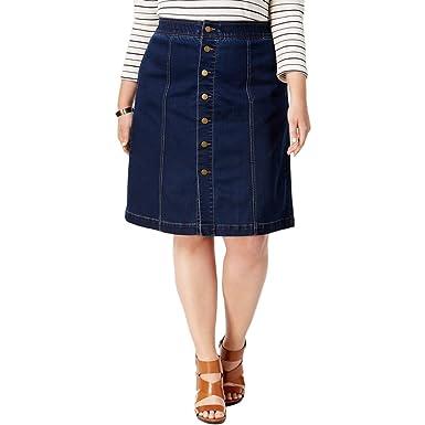 Charter Club Womens Plus Dark Wash Knee-Length Denim Skirt Blue ...