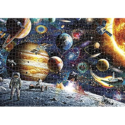 Robmoda 1000 Pieces Jigsaw Puzzle Astronaut Walking in Space Planet Cosmic Galaxy Puzzles Game Toys for Adult: Toys & Games