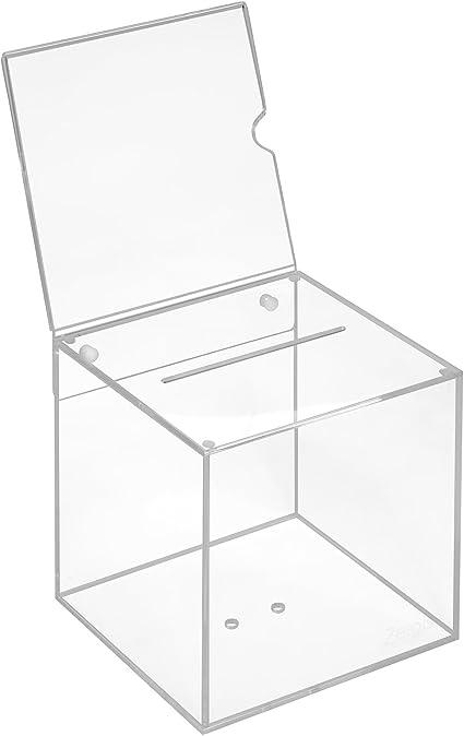 Scatola in vetro acrilico in 150 x 150 x 150 mm con targhetta 150 x 150 mm Zeigis/®//scatola per donazioni//scatola gioco di profitto//trasparente//acrilico//Plexiglas/®