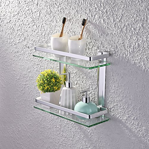 KES Bathroom 2-Tier Glass Shelf with Rail Aluminum and Extra