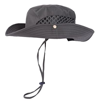 4f620c5667f Image Unavailable. Image not available for. Color  Loveble Men s Sun Hat  Summer Fishman Hat Adjustable Cap Rope Mesh Bucket Hat Hiking Outdoor Sun