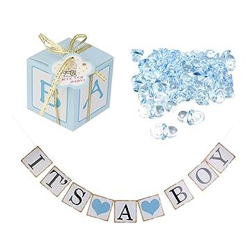 MagiDeal 12pcs Cajas de Caramelo de Papel Regalo de Bebé Azul + ...