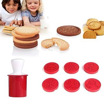 Amazon Com Velidy Cute Cartoon Cookie Stamps Mold Christmas Cookies