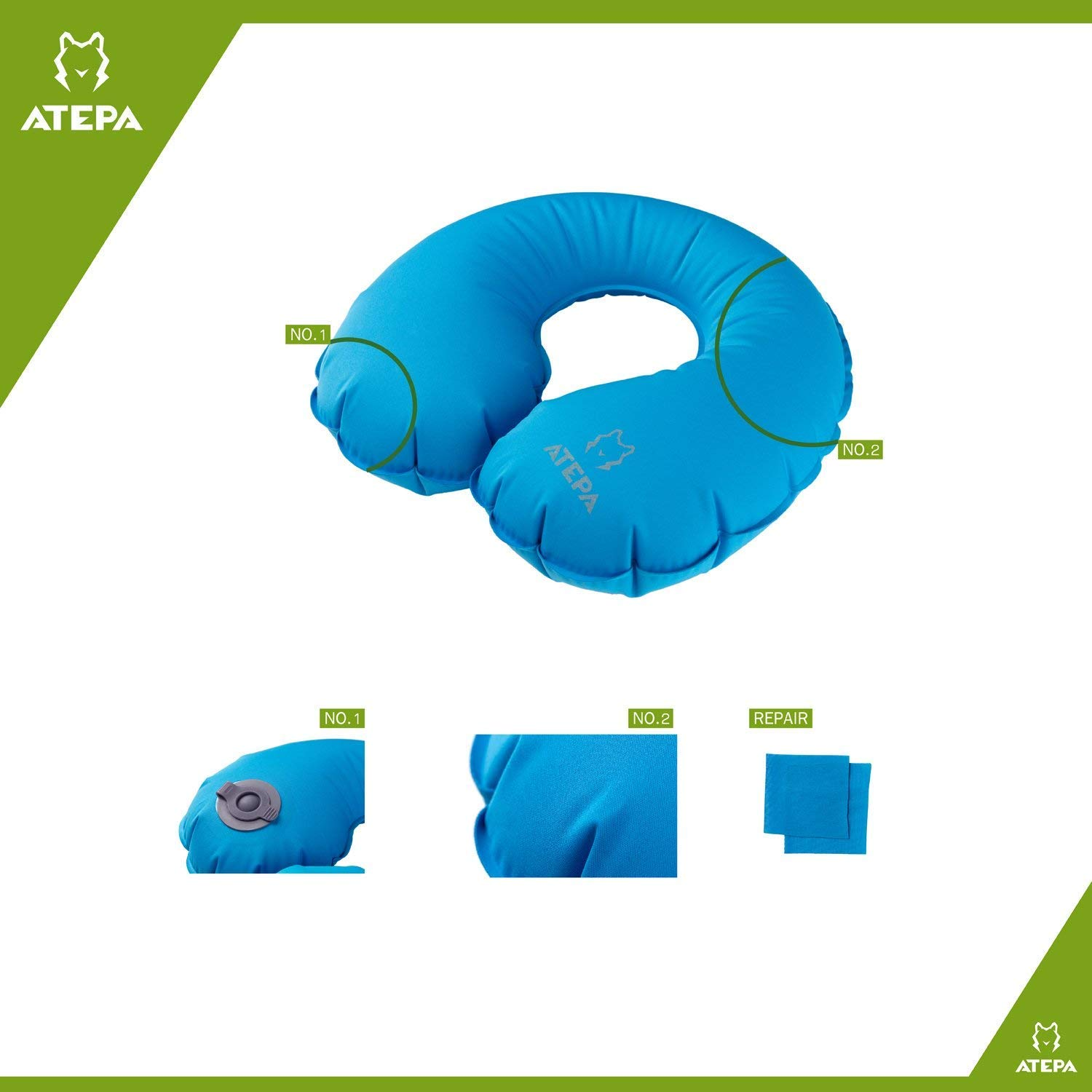 ATEPA U Shape Inflatable Neck Pillow for Traveling, Home, Office, with Patent Plastic Valve and Repair Cloth