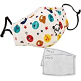Julymoda 3 Pack Kids PM2.5 Cotton Mouth Mask with Breath Valve Children Activated Carbon Filter with 6Pcs Filter Papers
