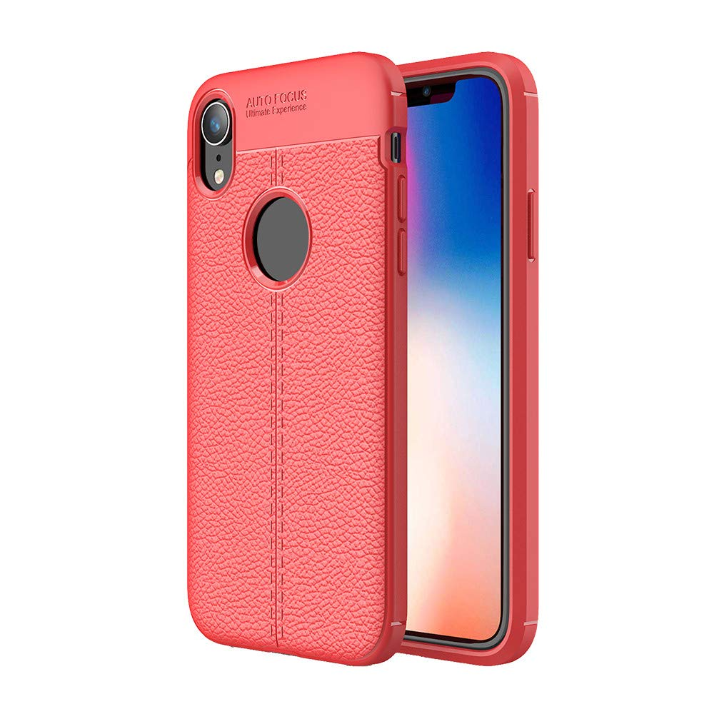 Kasien iPhone XS/iPhone XR/iPhone XS Max Case, Luxury Lychee Texture Shell Flexible TPU Protective Case Cover (Red, For iPhone XR)