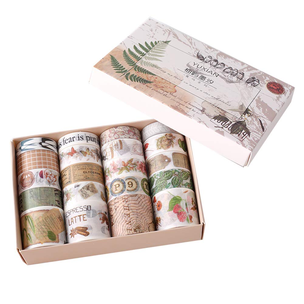 20 Rolls Masking Washi Tape Set Vintage Postmark Map Letter Bird Butterfly Cute Animal Floral Plant Decorative Sticker DIY Adhesive Label for Scrapbooking Planner Diary Journal Album
