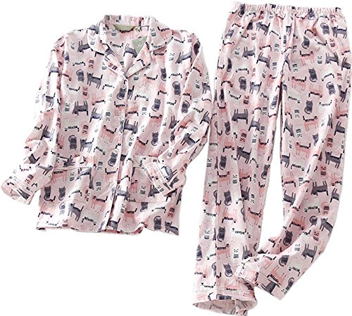 Flannel Striped Pants Pajama (Sanmadrola Women's Cotton Flannel Sleepwear Long Sleeve Pajama Set SY271-Pink Cat-L)