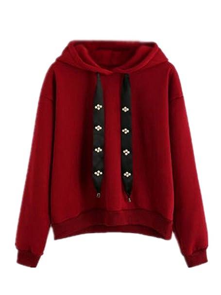 AILIENT Sudaderas con Capucha Color SÓLido Mujer Camisetas de Manga Larga Hoodies Pullover Sencillos Chica Jerseys Tops Casuales: Amazon.es: Ropa y ...