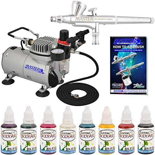 (Master Airbrush Professional Airbrushing System Kit with 8 Color Water-Based Face and Body Art Paint Set - Washable Temporary Tattoos - G34 Gravity Feed Airbrush, Air Compressor, How-To-Airbrush)