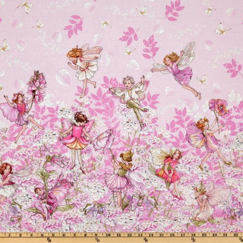 Michael Miller ER-102 Petal Flower Fairies Double Border Stripe Pink Fabric by The Yard,