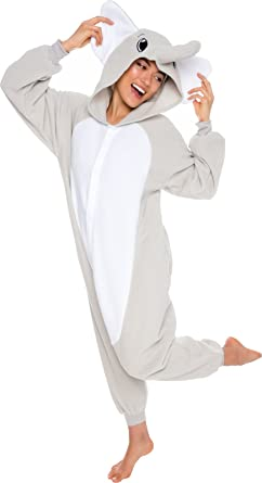 Amazon.com  Silver Lilly Unisex Adult Pajamas - Plush One Piece Cosplay  Elephant Animal Costume  Clothing 496bf1241
