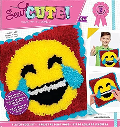 Colorbok Sew Cute Emoji Laugh Tears Latch Hook Kit, None