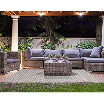 Gertmenian Barnwell Prime Contemporary Patio Furniture Rug, 8x10 Large, Beige Gray