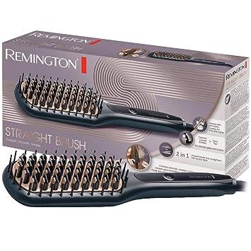 Remington CB7400 - Cepillo Alisador, Cerámica Avanzada Antiestática, 2 en 1 Cepilla y Alisa, 3 Ajustes, Negro