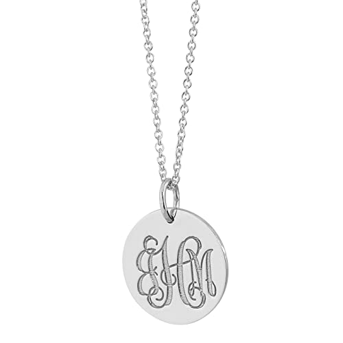 Monogrammed 3 Initials 5/8 Inch Disc Charm Pendant Solid 10k White Gold Laser Engraving GC07